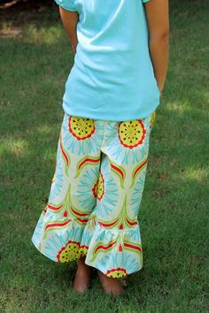 Girls Ruffle Pants in Pop Garden