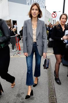 Alexa Chung in cropped, flare jeans / Click to shop her look.
