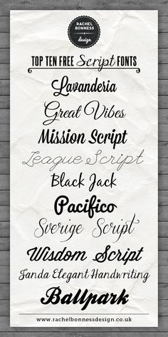 Rachel Bonness Design Top Best Ten Free Script Fonts ~~ {10 free fonts w/ easy download links}