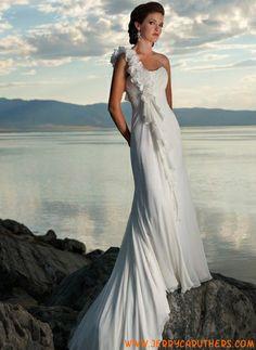 een schouder chiffon strand trouwjurk lace-up back