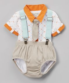 Another great find on #zulily! White & Orange Bodysuit & Diaper Suspenders - Infant by Harry & Violet #zulilyfinds