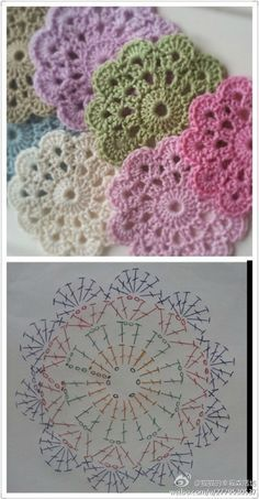 dessous de verres au crochet + pattern                                                                                                                                                                                 Plus