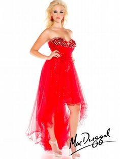 ff8d99bdf7a Mac Duggal 2014 Plus Size Prom Dresses - Red   Nude Crystal Strapless  Sweetheart High-Low Gown