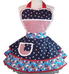 Retro July 4th Patriotic Pin Up Apron One of a Kind by WellLaDiDa, $50.00