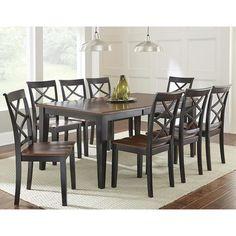 Rani 7-Piece Dining Set in Medium Cherry and Ebony | Nebraska Furniture Mart