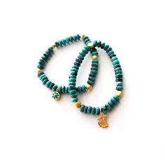 ALANGOO - Mini Gold-Plated Samaa Persian Turquoise Bracelet Set