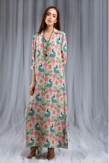 22cf6f69b56 Payal Singhal Ps X Desai Foundation Collection   KHAKI ANAAR AUR MOR PRINT SHIRT  DRESS Ankle