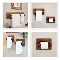 MURPHY 4 Piece Towel Rack Set - Large reclaimed towel hanger, two hand towel holders and toilet paper holder