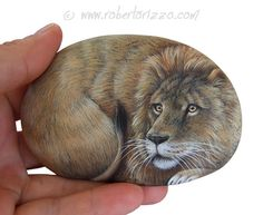I Painted this Wild Lion on a Natural Sea Rock. An Unrepeatable Piece of Art and a great Gift Idea for all of you, Nature Lovers!  My painted stones are unique pieces of art. I paint all of them with high quality acrylics and very small brushes. They are painted on smooth sea rocks, FINELY DETAILED, protected with a strong transparent varnish coat, signed on the back and accompanied by a CERTIFICATE OF AUTENTICITY.  Measurements of this hand painted lion: Lenght 11 cm (4,5 in) Height 7 cm (3…