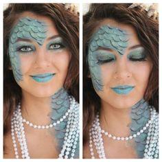 Mermaid makeup (like the asymetrical yet balanced look-L) Fish Makeup, Sfx Makeup, Body Makeup, Mermaid Makeup, Mermaid Hair, Costume Makeup, Goldfish Costume, Hallowen Costume, Costume Ideas