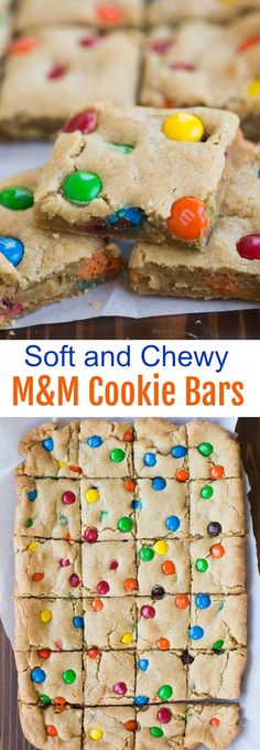 These thick and chewy M&M Cookie Bars will be your new favorite! | http://tastesbetterfromscratch.com