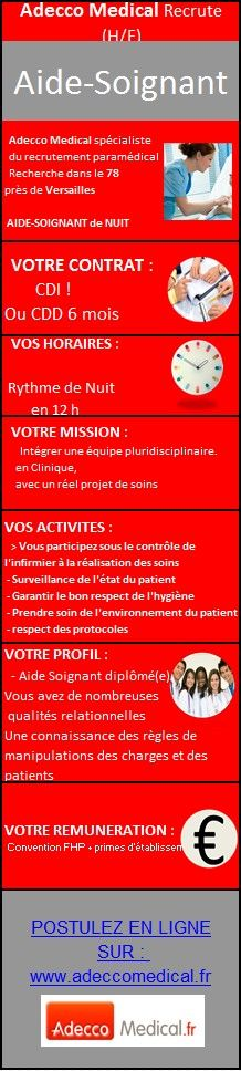 Adecco Medical recrute des Aide-Soignants (H/F)