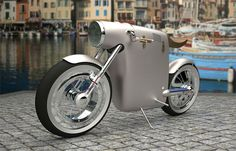 An electric bike, designed by the Spanish firm ART-TIC, inspired by the Ossa monocasco motorcycle of Santiago Herrero, the legendary Grand Prix racer who died racing in 1970 Concept Motorcycles, Cars And Motorcycles, Vespa Scooter, Bike Art, Motorcycle Bike, Racing Bike, Motorcycle License, Automotive Design, Custom Bikes