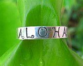 Aloha, anello, argento, mano timbrato gioielli, Hawaii, martellato, Handmade, regalo per lei