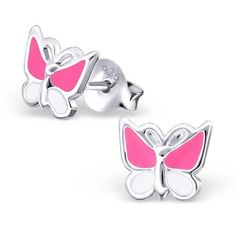 Children's Small Pink & White Butterfly Real Sterling Silver Stud Earrings  #rings #stud #silver #earrings #sterling #925 #gift #hoops #present #spoilurself