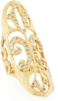 Devon Leigh Gold Oval-Face Pave Scroll Ring