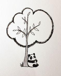 Panduhmonium 31 Days of Inktober - Day 4 Panda Illustration, Panda Art, Watercolor Journal, 31 Days, Drawing Board, Art Journal Inspiration, Art Journaling, Cool Drawings, Inktober