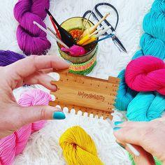 "The Little Bee (@thelittlebeenz) on Instagram: ""👇Gℹ🔽e🔼w🅰️y! 👇 Happy-go-knitty DualGauge Knitting Gauge, Bee, Crochet, Happy, Instagram, Jewelry, Crochet Hooks, Jewlery, Jewels"