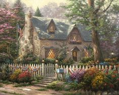 Liberty Lane Cottage Thomas Kinkade art for sale at Toperfect gallery. Buy the Liberty Lane Cottage Thomas Kinkade oil painting in Factory Price. Kinkade Paintings, Oil Paintings, Painting Art, Thomas Kinkade Art, Thomas Kinkade Puzzles, Thomas Kincaid, Art Thomas, Cottage Art, Large Art