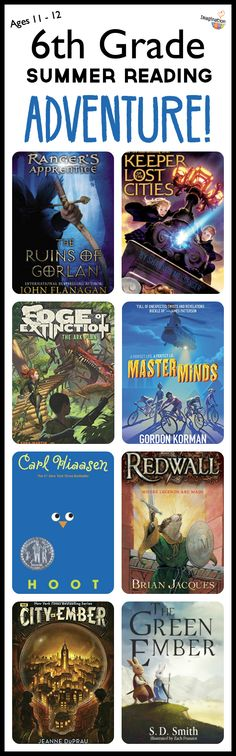 summer reading list for sixth grade kids -- adventure, fantasy, scary, humor, and more book ideas (ages 11-12)