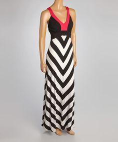 Black & White Chevron V-Neck Maxi Dress by Chelsea & Theodore #zulilyfinds