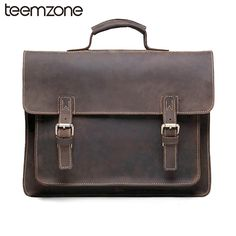 ZLON New Style Men Crazy Horse Genuine Leather Vintage Aipper Single Laptop Briefcase Messenger Shoulder Attache Tote Bag Leather Fashion, Mens Fashion, Men's Totes, Crazy Man, Laptop Briefcase, Crazy Horse, Good And Cheap, Luggage Bags, Messenger Bag