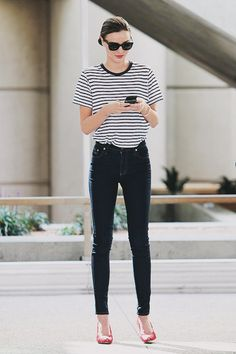 Stripes + skinnies.