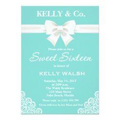 Inspired White Bow Sweet Sixteen Invitation