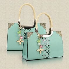 Fashion Cute Candy Color Floral Cutout Handbag