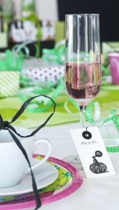 Gift tags are a fun way for guests to label drinks and avoid a glass mix-up.