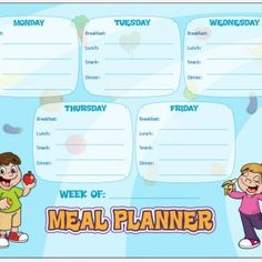 Menu Planning Tip plus Weekly Meal Plan for KIDSKids weekly meal planner to learn to do next to you