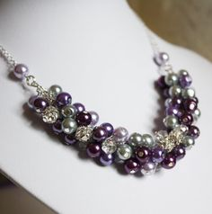 Bridesmaid Jewelry Set Purple Gray Plum by DaisyBeadzJoaillerie