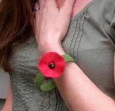Red Poppy Bangle Bracelet Handmade Eco Felt on Green $16.00