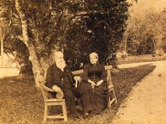 Pedro II and D. Teresa, Emperor and Empress of Brazil, at the garden of the Imperial Palace in Petropolis which was the Summer residence of the Imperial Family. Before 1891.... okay, well, whatever... I love this picture!!