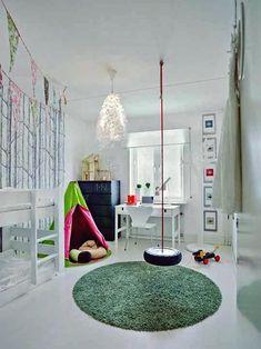 Amazing 39 Luxury Indoor Swing Design Ideas For Kids Space To Have Right Now Swing Indoor, Indoor Playground, 3 Kids Bedroom, Kids Room, Kid Bedrooms, Swing Design, E Design, Design Ideas, Playroom Organization