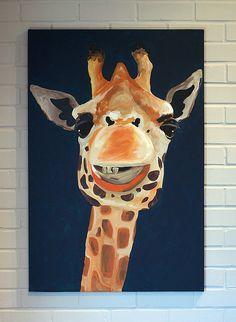 Giraffe Paintings Canvas Art 24x36 Orange and Blue. $300.00, via Etsy.