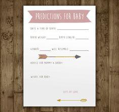 Predictions Baby Shower Game. Digital Printable by AmandaMillsShop