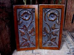 Wood Panels, Wood Carvings, Wood Plaques, Treen, Hand Carved, Architectural Salvage, Wood Carving, Door Panels, Cabinet Panels, Wooden Door by MissieMooVintageRoom on Etsy