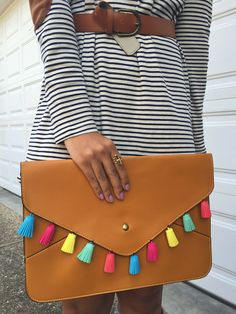diy, tassel clutch, striped t shirt dress, t-shirt dress, spring outfit, stella dot style, elbow patches, what to wear, ways to wear // what nicole wore: a louisville style blog