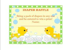 Rubber Duck Diaper Raffle Ticket, Instant Download Rubber Duck Baby Shower Game, Printable Diaper Raffle Ticket