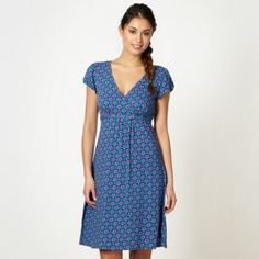 f31ec5c8e576 Blue capped sleeve dress Mantaray Clothing