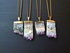 Amethyst Druzy Crystal Necklace Purple Amethyst by AtelierYumi