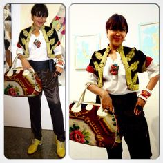 Somerset Maughm's  East meets West on my mind!  A hundred year old #lux #anitqueembroideryjacket ...#velvetembroideryjacket. Love the #redsilk lining & #goldhandembroidery #orientalgoldembroidery . #vintagepetitpointbag, #obi #obibelt, self made necklace of #coralrings & #turquoiserings, #vintagebrogues #patentbrogues with #silklaces from erstwhile #baltman.