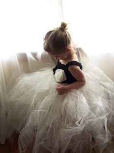 Black Crochet Bodice Tutu Dress with Ivory Flower-where was this when I was a little girl?