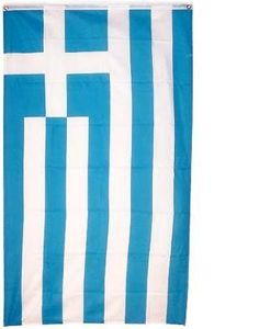 """Greece National Flag 3 x 5 NEW Greek 3x5 Banner by NationalCountryFlags. $4.78. Material: Polyester. New Large 3x5 Greece Country Flag National Greek Flags. Size: 3' x 5' (36"""" x 60""""). Includes 2 Brass grommets for hanging. The flag of Greece (the """"blue-white"""") is based on nine equal horizontal stripes of blue alternating with white. There is a blue canton in the upper hoist-side corner bearing a white cross; the cross symbolizes Greek Orthodoxy, the established religion o..."""