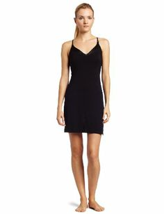 ada15038dc Calvin Klein Women s Essentials V-Neck Chemise Nightgown at Amazon Women s  Clothing store  Nightgowns