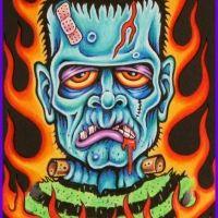 Blue Frankenstein & flames lowbrow art by artist Karl Kaufmann