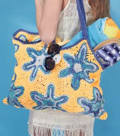 Free Starfish Beach Bag Crochet Pattern #free #pattern #crochet