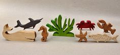 Sea Animal Set for Children Wooden Animal Blocks Organic Gifts for Kids Boys Girls Waldorf Montessori Toys Stocking Stuffer Waldorf Montessori, Waldorf Toys, Montessori Toys, Wooden Animal Toys, Wood Animal, Wooden Blocks Toys, Wood Toys, Animal Set, Under The Sea Animals