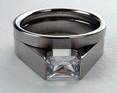 Unique Engagement Ring - Titanium Tension-Set - Groove design with Satin Finish and Princess-cut Padparascha Sapphire. $399.00, via Etsy.